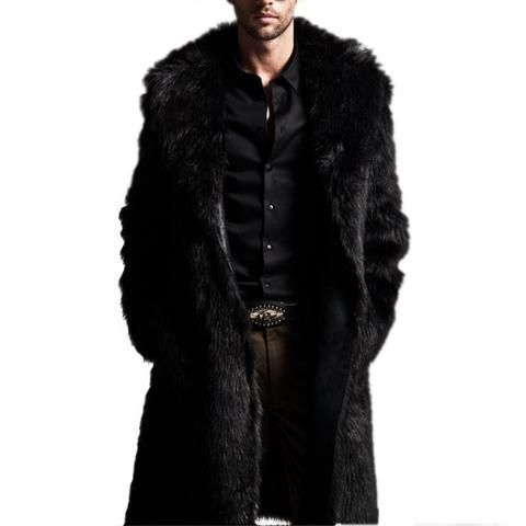 Autumn Winter Men Fashion Coats Rabbit Faux Fur Long Style Men Coat Long Sleeve Turn-Down Collar Coat Plus Size Men Coat