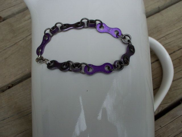 Metallic purple bracelet handmade from BMX by GemstoneBikeJewelry
