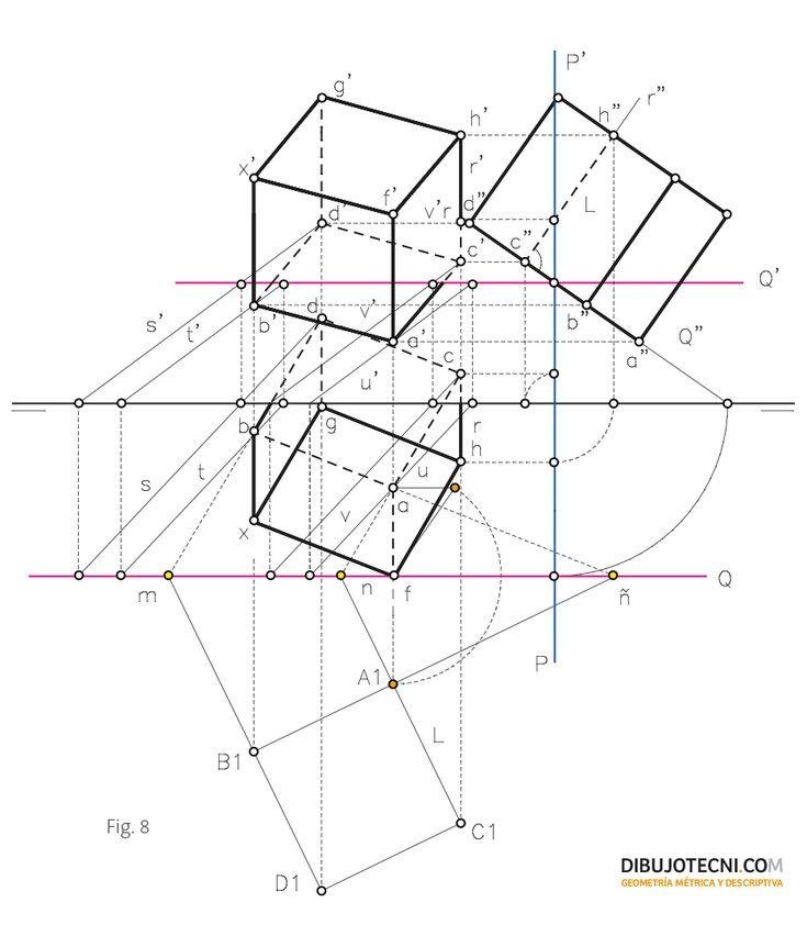 Hexaedro. Representación, desarrollo y secciones planas. · Dibujo ...  dibujotecni.com 930 × 1090Search by image Hexaedro con una de sus caras apoyada en un plano cualquiera