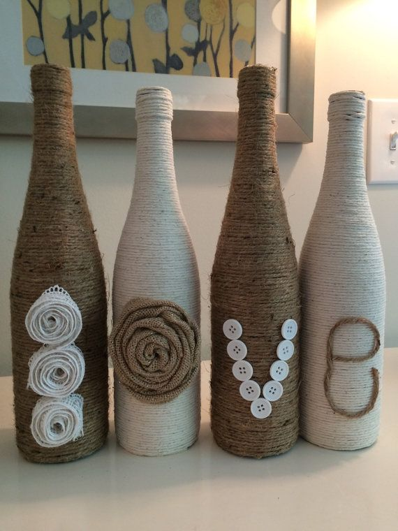 Love Twine wrapped wine bottle decor by FindALittleDream on Etsy