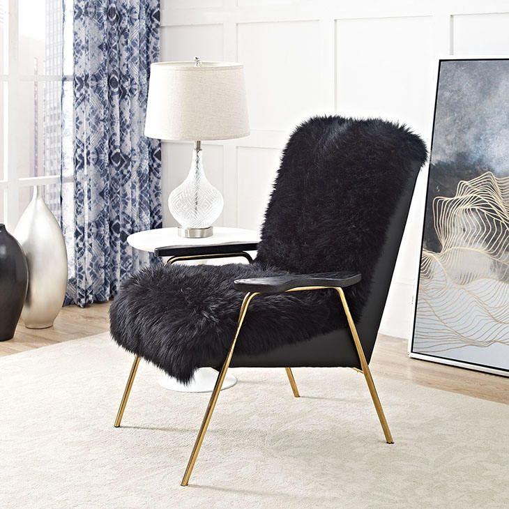 OVIS Sheep skin Side Chair in black or white  Mid Century Modern Ready to ship!
