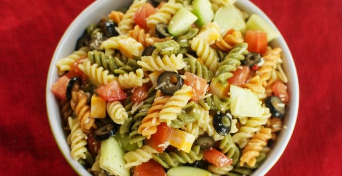 A colorful pasta salad with a zesty Italian twist! This pasta salad is perfect as a side dish at a summer BBQ.
