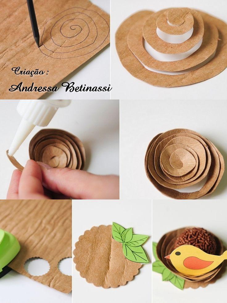Ninho de Passarinho , forminha para doce  papel Kraft TEX Papel e passarinhos Oficina do Papel