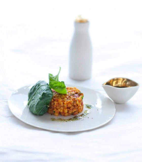 Mangoldblätter mit Fregola und Pecorino