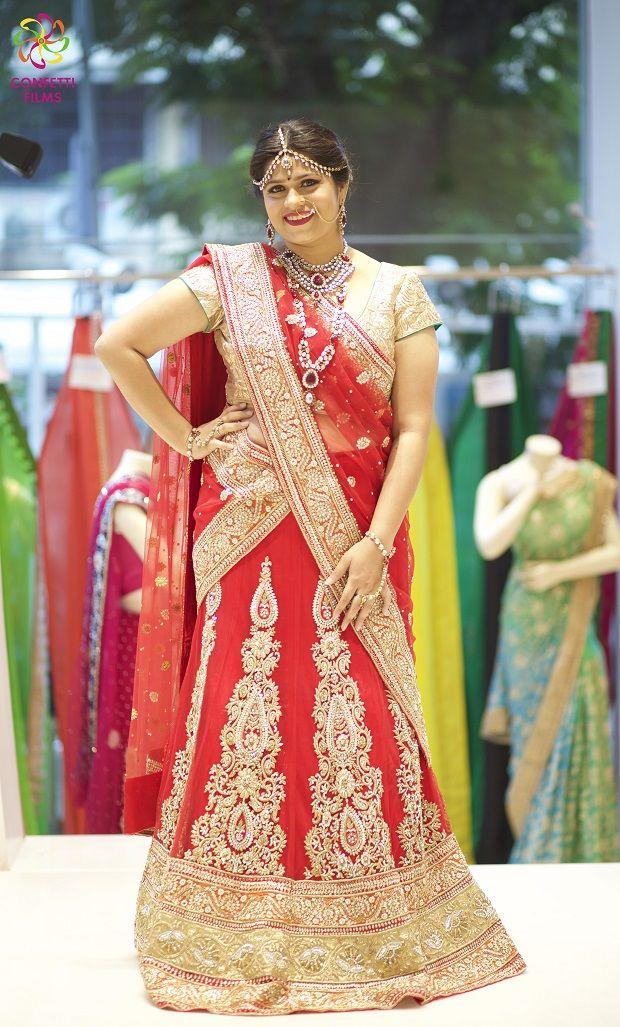red and beige lehenga weddingsOnline making of the bride photoshoot