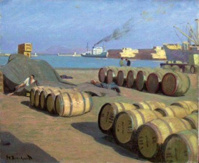 Peinture Port d'Alger - Étienne BOUCHAUD - Les quais du port d'Alger