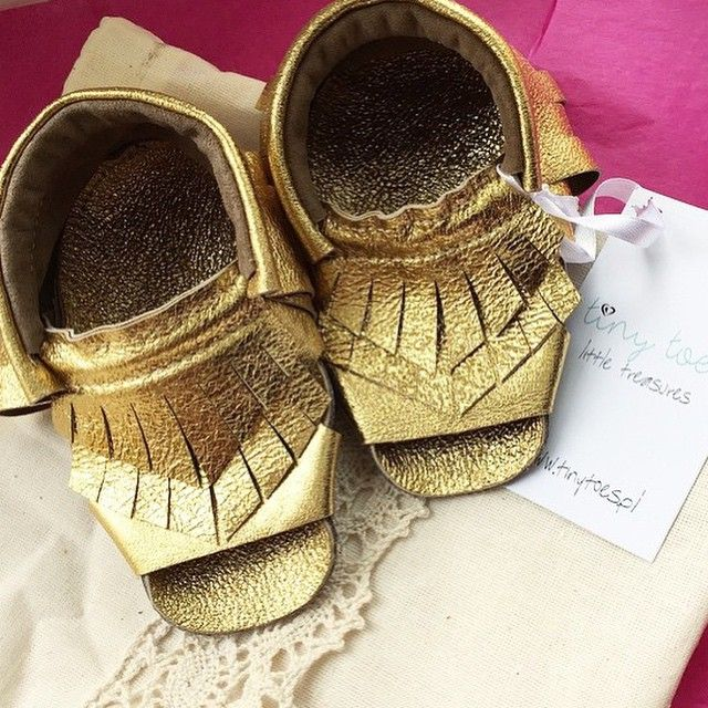 gold leather sandals made by www.tinytoes.pl