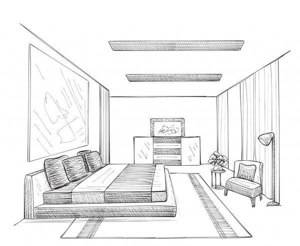 Quarto Interior Moderno Ilustracao De Stock Interior Architecture Drawing Interior Design Drawings Interior Design Renderings