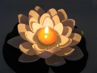 floating lotus candles for pool wedding | 25 White Floating Lotus Flower with Candle Wedding Decoration [we-f138 ...