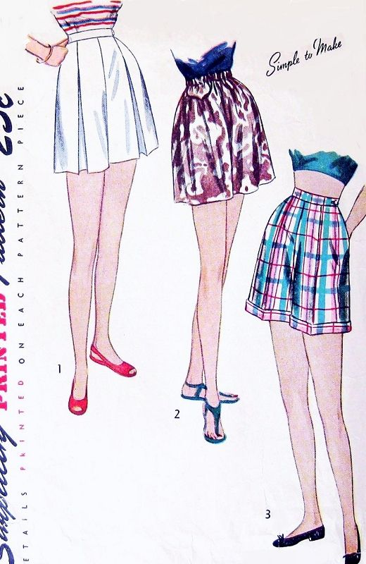 1940s CUTE  Simple To Make SHORTS Pattern SIMPLICITY 2017 Three Beachwear Styles Pleated, Divided Skirt and Classic High Waist Cuffed Shorts Waist 26 Vintage Sewing Pattern