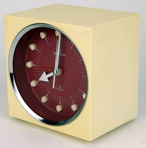 70er Jahre Design Wecker / Uhr von Garant, Würfel Form, Panton