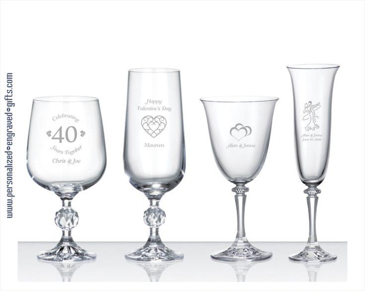 Engraved Crystal Wine Glasses