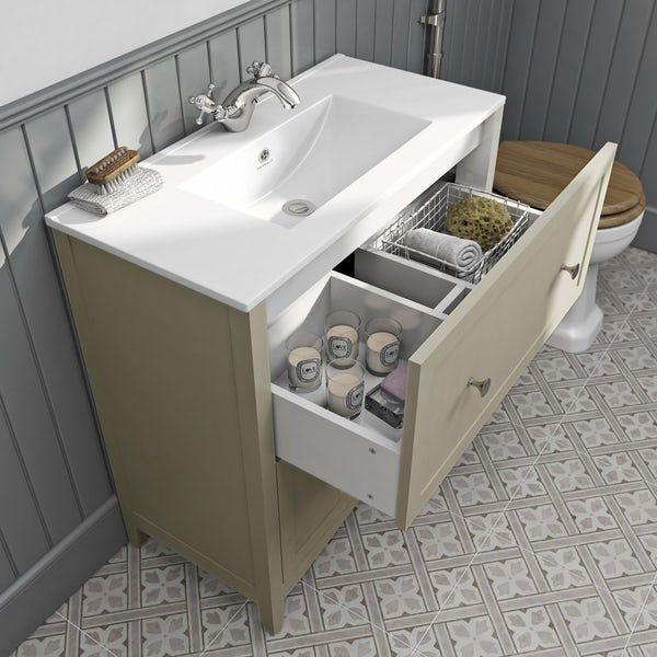 The Bath Co Camberley Satin Ivory Floorstanding Vanity Unit And