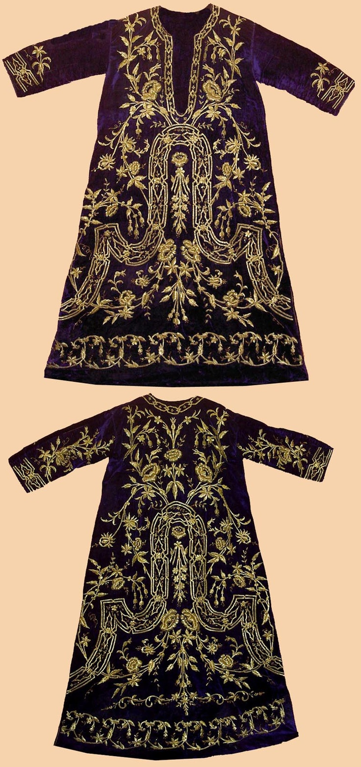 1840 c. Antique Turkish Textile. A Woman's Kaftan worn at Court. The purple silk velvet is embroidered with gold thread strip and sequins in dival work and in stem stitch. The pattern is 'Shah's pleasure'.