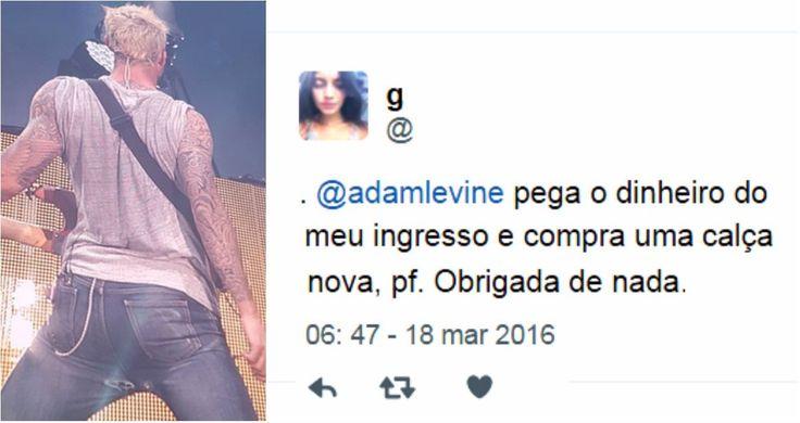E é claro que a internet brasileira não deixou barato! Veja as fotos e os melhores comentários sobre a calça do vocalista do Maroon 5.