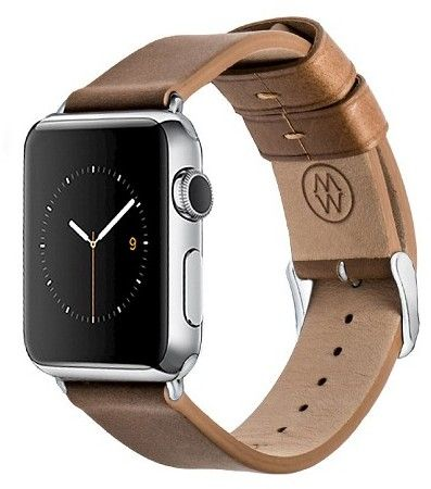 Navarre Monowear  Leather Band with Polished Silver Stainless Steel Adapter For 42Mm Apple Watch - Brown ( 8132142 )