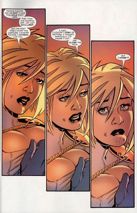 Legitimizing the decision to continually display a female comic characters breasts despite the fact that it is offensive and unnecessary.  FAIL!
