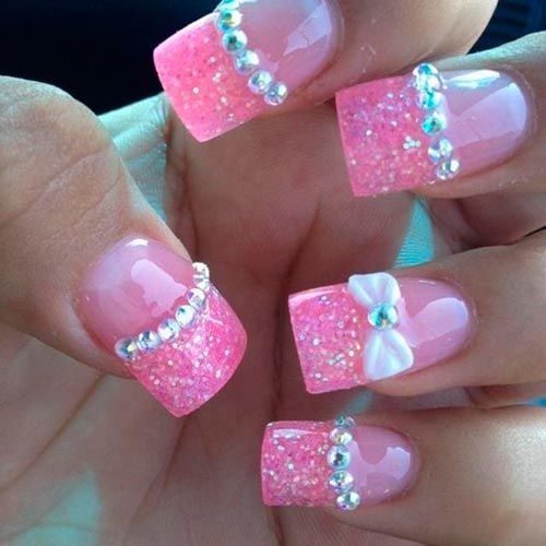 Glitter hot pink French tip #manicure with 3D rhinestone and bow #nailart