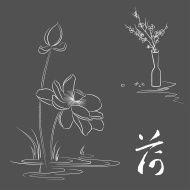 Ensemble de lignes dessinées à la main des fleurs isolé sur white backgr…