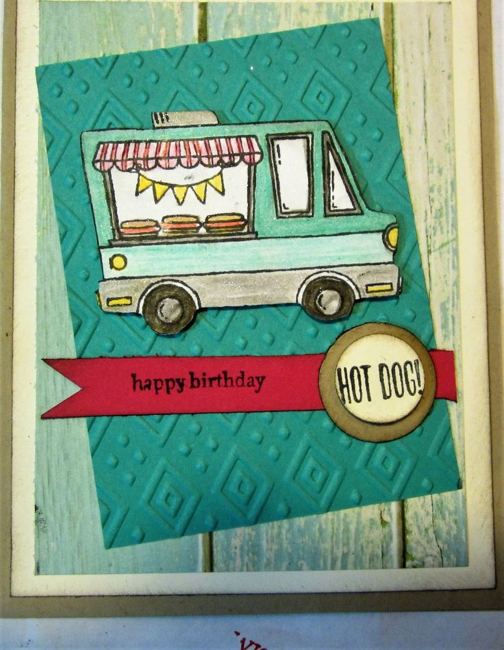 """A third birthday card in one day? I'm really on a roll making sample cards using SAB stamp sets. This card uses the """"Tasty Trucks"""" sta..."""
