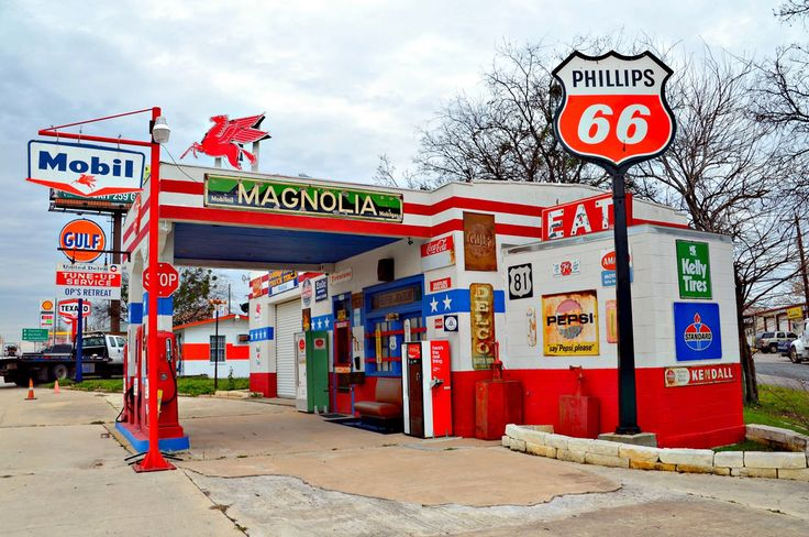 Mobil 1950s Jarrell,Texas Old gas stations, Gas station