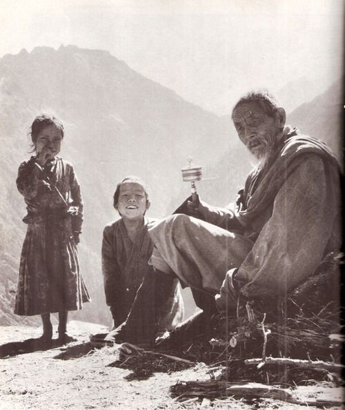 """indodla:  """"An elderly Lama and two children."""" Nepal/Tibet The Geographical Magazine 1968"""