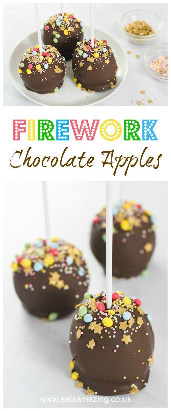 Easy Firework Dark Chocolate Dipped Apples recipe - fun food for kids - perfect for Bonfire Night or New Years Eve party food - Eats Amazing UK     #bonfirenight #bonfire #fireworks #candyapples #chocolate #apples #darkchocolate #sprinkles #partyfood #newyear #kidsfood #funfood #foodart #newyearparty