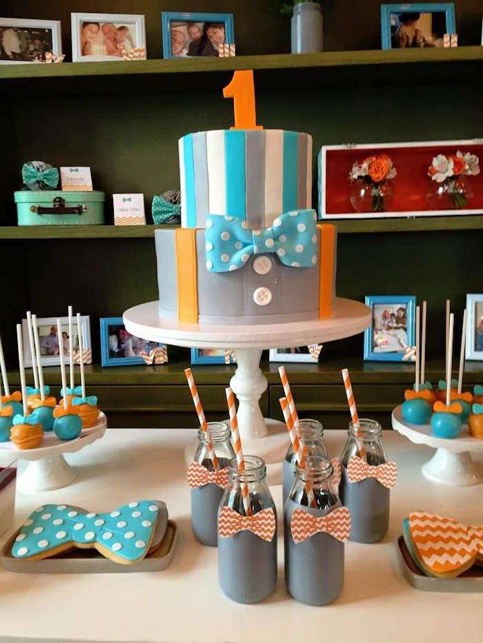 Cake Table from a Bow Tie Birthday Party via Kara's Party Ideas   KarasPartyIdeas.com (1)