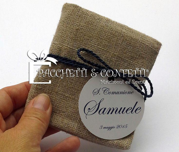 Pacchetti e Confetti: Bomboniera Comunione con semi di fiori: pochette in lino