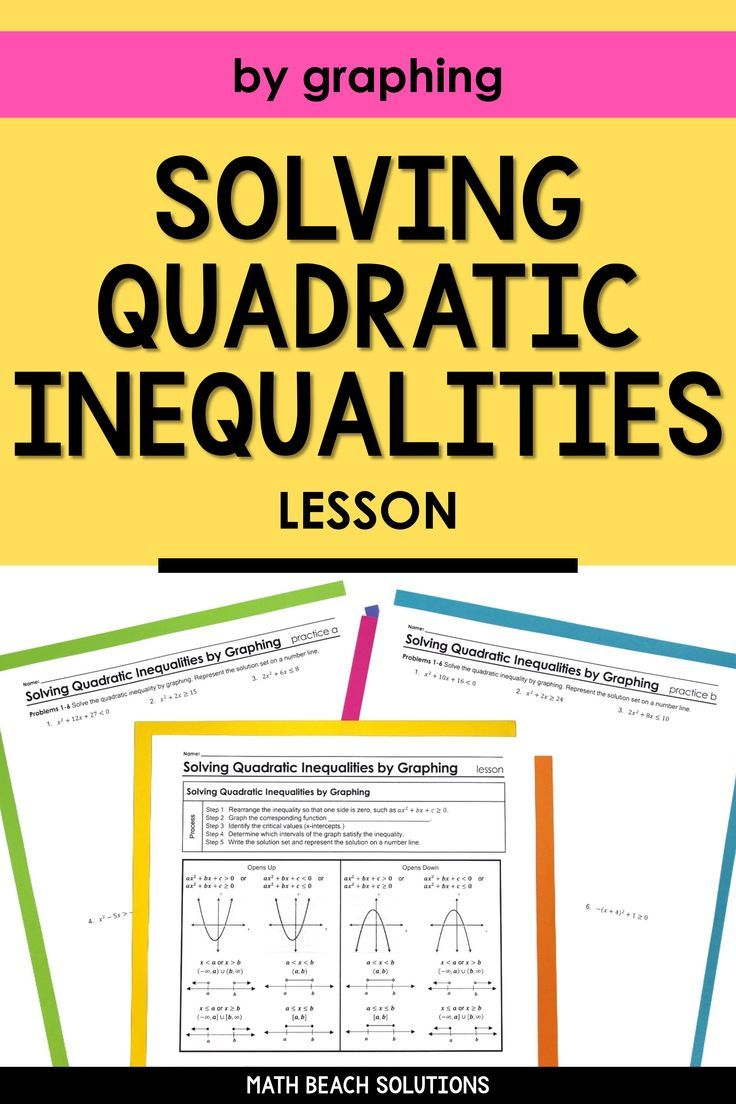Solving Quadratic Inequalities By Graphing Lesson Algebra
