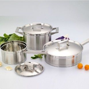 free shipping ss#304 stainless steel 3pots cookware set cooking pots and pans high quality cookware 6pcs set