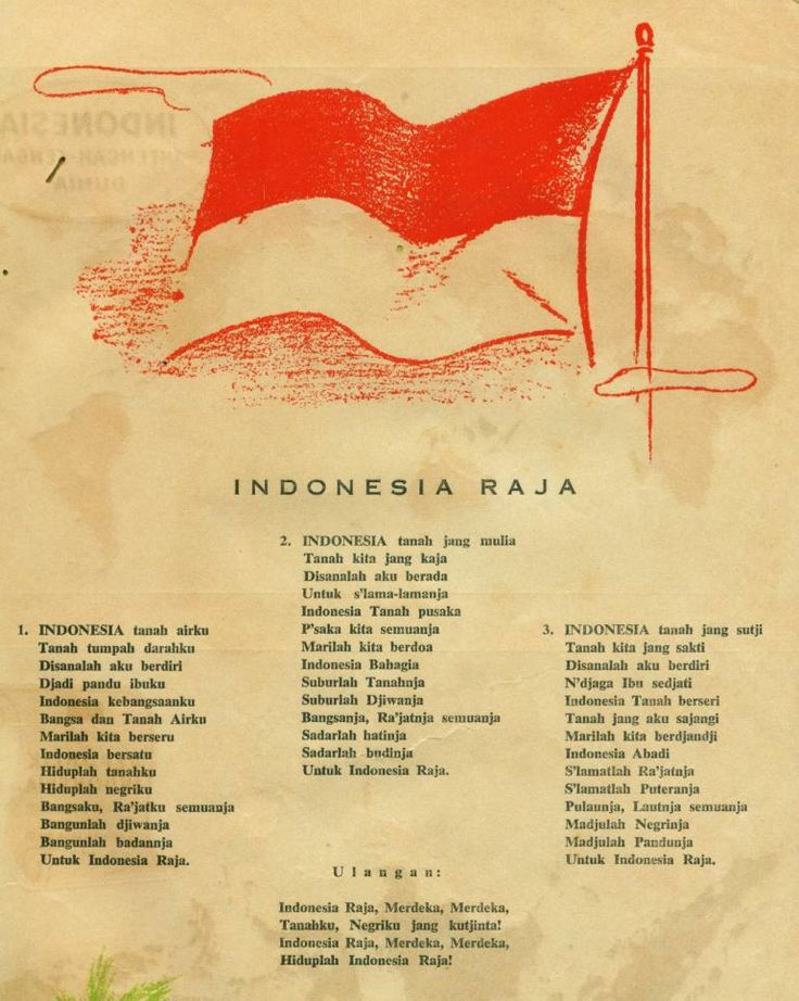 The original old manuscript version of INDONESIA RAYA anthem song. Indonesian National Anthem - INDONESIA RAYA