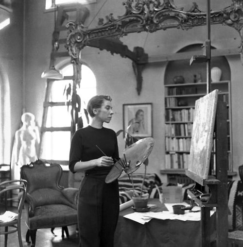 Young Tove Jansson working in her studio. Finnish author and artist, creator of The Moomins.