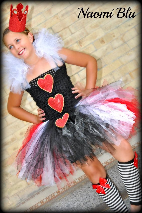 Alice in Wonderlands' Queen of Hearts Tutu Dress and Crown. Newborn to 5T. Great for Themed Birthday Party, Weddings Costmes. $65.00, via Etsy.