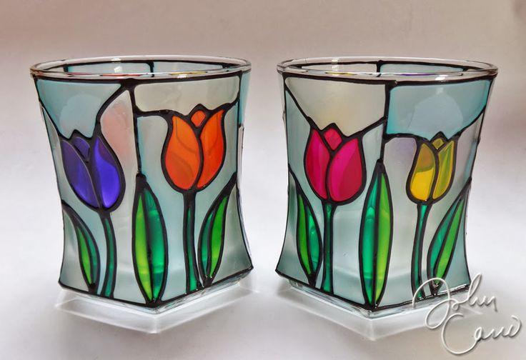 tulipanes falso vitral