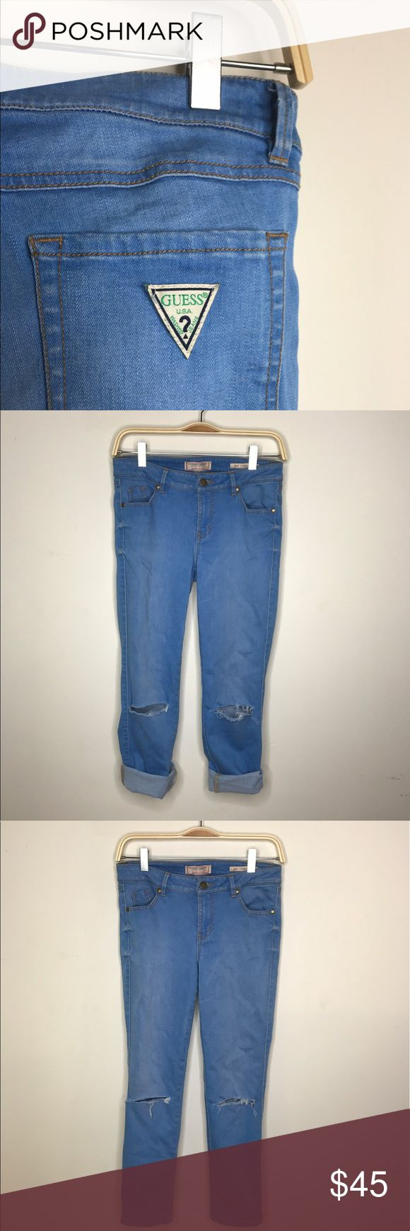 Guess? originals Cropped Jeans Holes in the knees - bright blue indigo Guess Jeans Ankle & Cropped