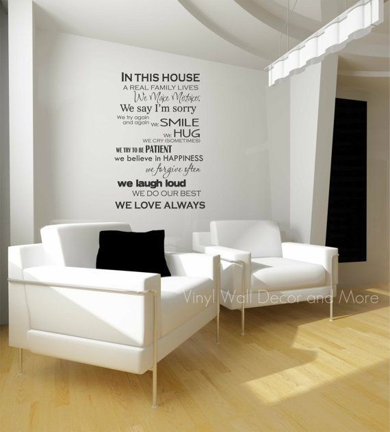 Love this...This will go in our entrance way!  In This House Vinyl Wall Phrase by lisamingersoll on Etsy.