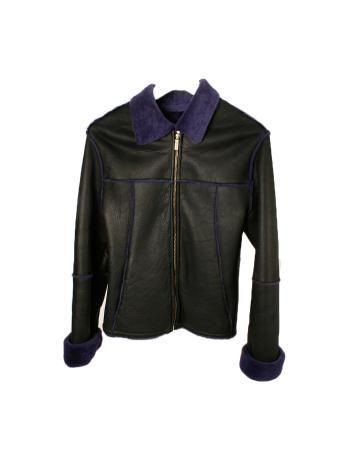 Abrigo negro y morado de cuero marca Versace Classic V2