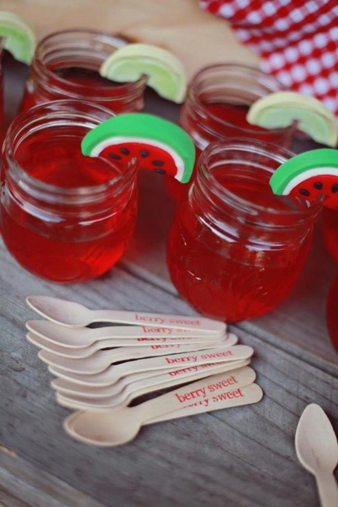 Make strawberry jello in baby jars or other small jars and top off with fresh strawberry. This would look so cute for a party on the farm.
