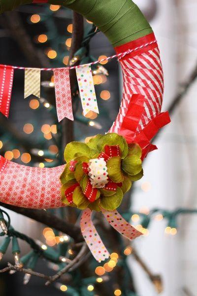 Ghirlanda decorata con washi tape