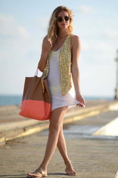 : Neon Bikinis, Fashion, Summer Looks, Beaches Outfits, Dresses, Summer Outfits, Sequins, Beaches Style, Bags