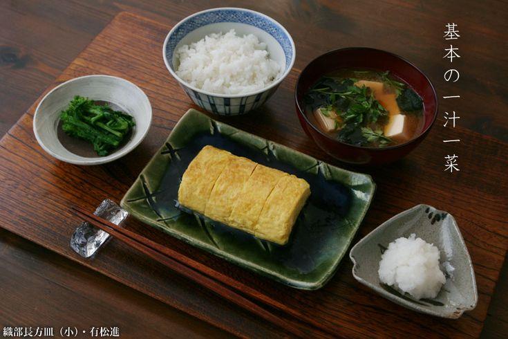 豆腐・新わかめ・芹の味噌汁、出汁巻、菜の花の漬物