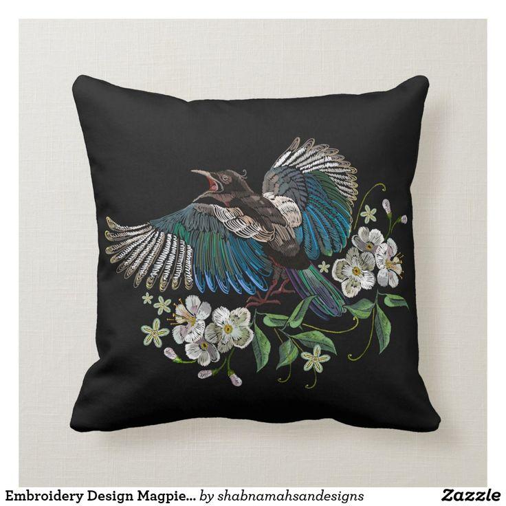 Embroidery Design Magpie Bird White Flower Black Throw Pillow Zazzle Com Black Throw Pillows Throw Pillows Black Throws