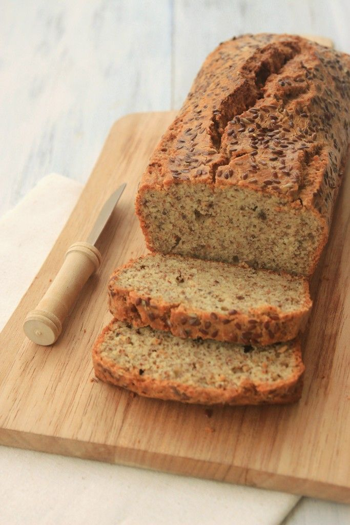 A quick bread made with ground almonds and ground flaxseeds, this goes great toasted with jam or ham and cheese!