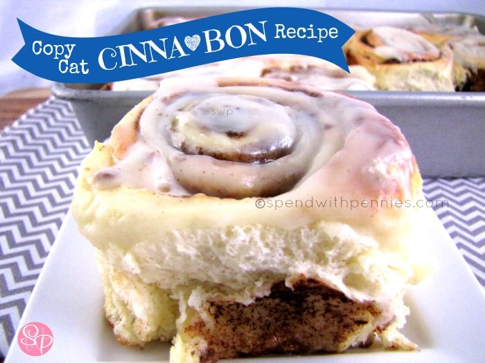 COPY CAT CINNA <3 BON Recipe! These taste exactly like the cinnamon rolls I love to get at the mall! I've made them so many times and they turn out soft and perfectly every time!