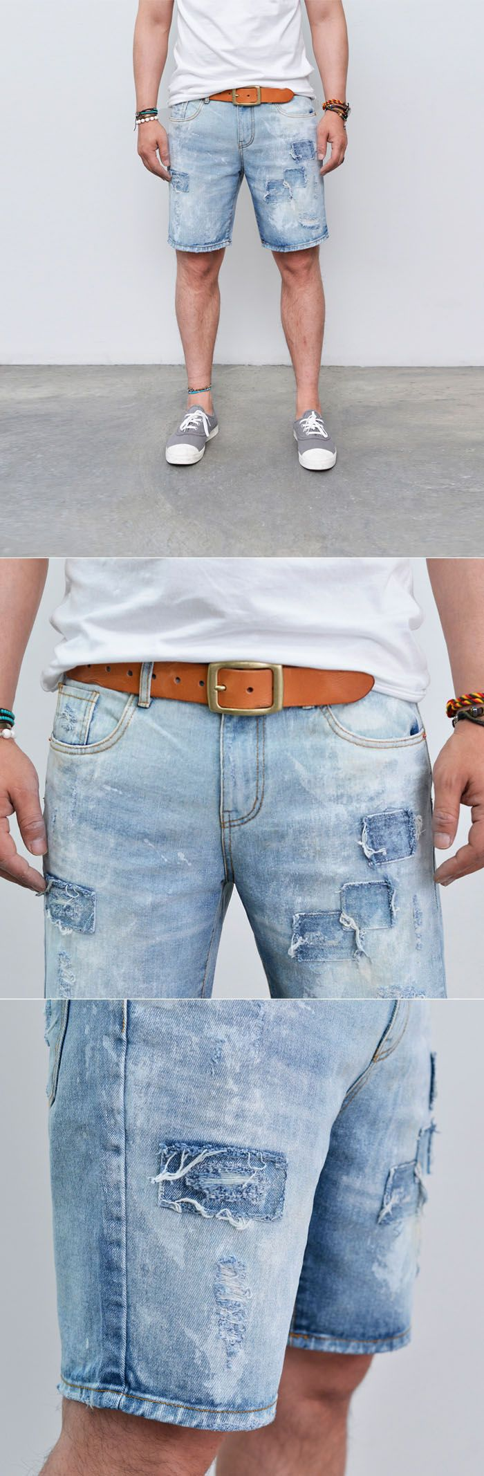 Bottoms :: Vintage Worn-out Denim Short-Shorts 80 - Mens Fashion Clothing For An Attractive Guy Look