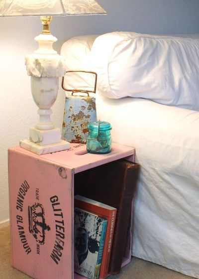 Glitterfarm Large Crates are sturdy end tables or nightstands. I'm getting two, one for each side of the bed! Shabby Chic