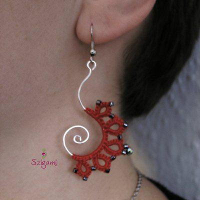 ékszer, jewelry, nyaklánc, medál, fülbevaló, csipke, tatting