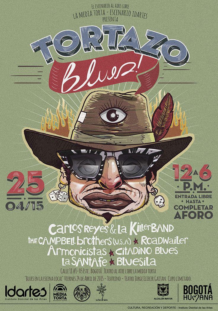 Afiche Tortazo Blues.Diseño/Ilustración: Daniel Roa.Bogotá, 2015.