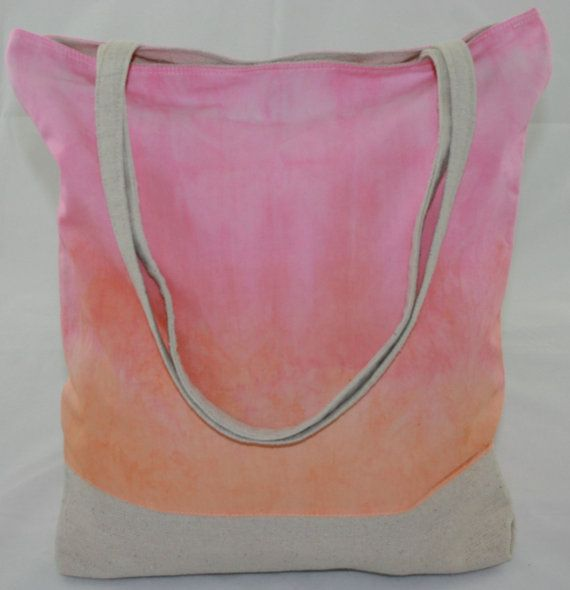 Pink and Orange Canvas Tye Dye Tote Bag on Etsy, $60.00
